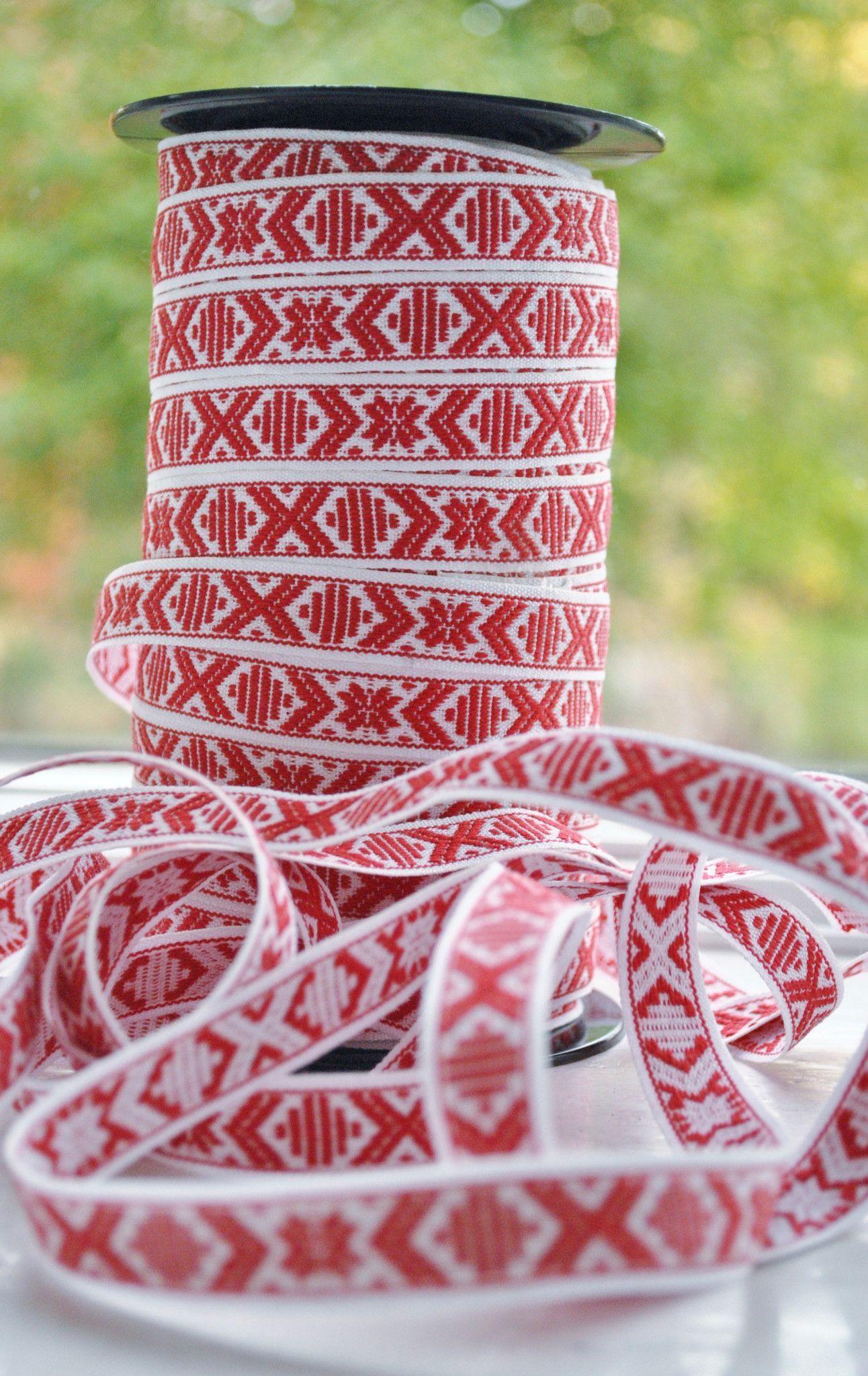 Swedish Folk Art Ribbon Red White Star Pattern Hand Woven Christmas Scandinavian Hand Weaving Scandinavian Fabric Scandinavian Christmas