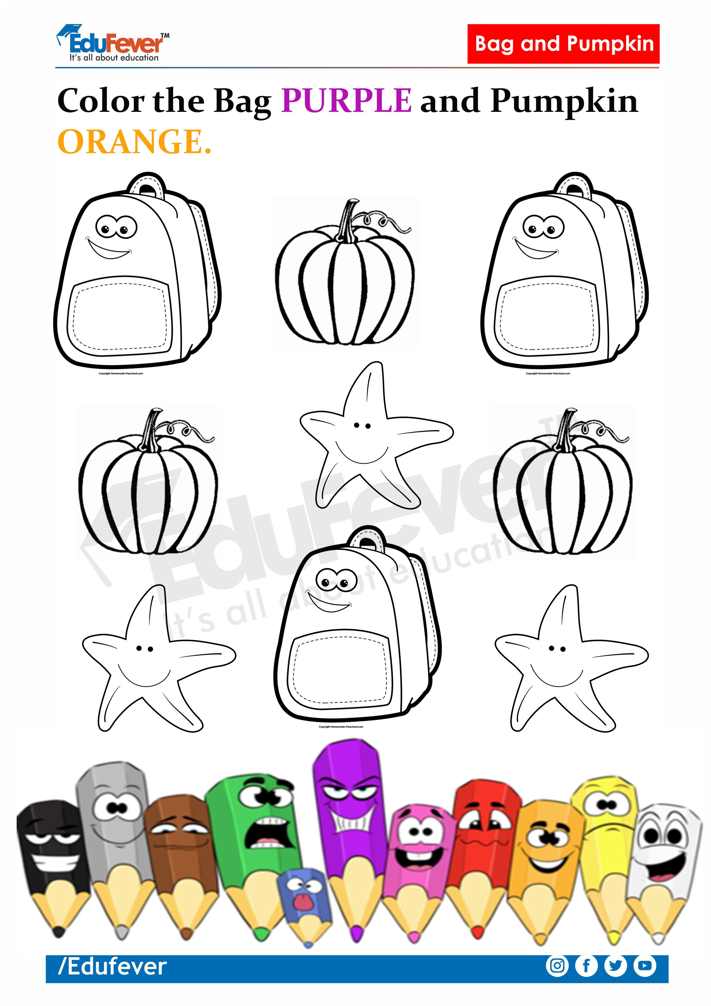 Colour Given Objects In Described Colours Lkg Worksheets