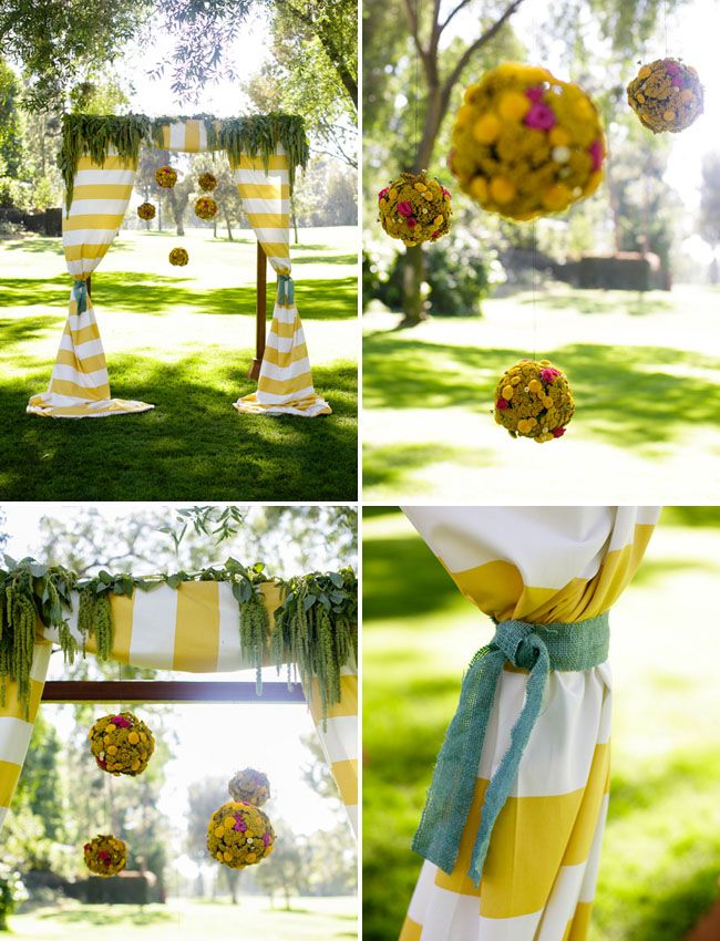 Yellow + white striped canopy