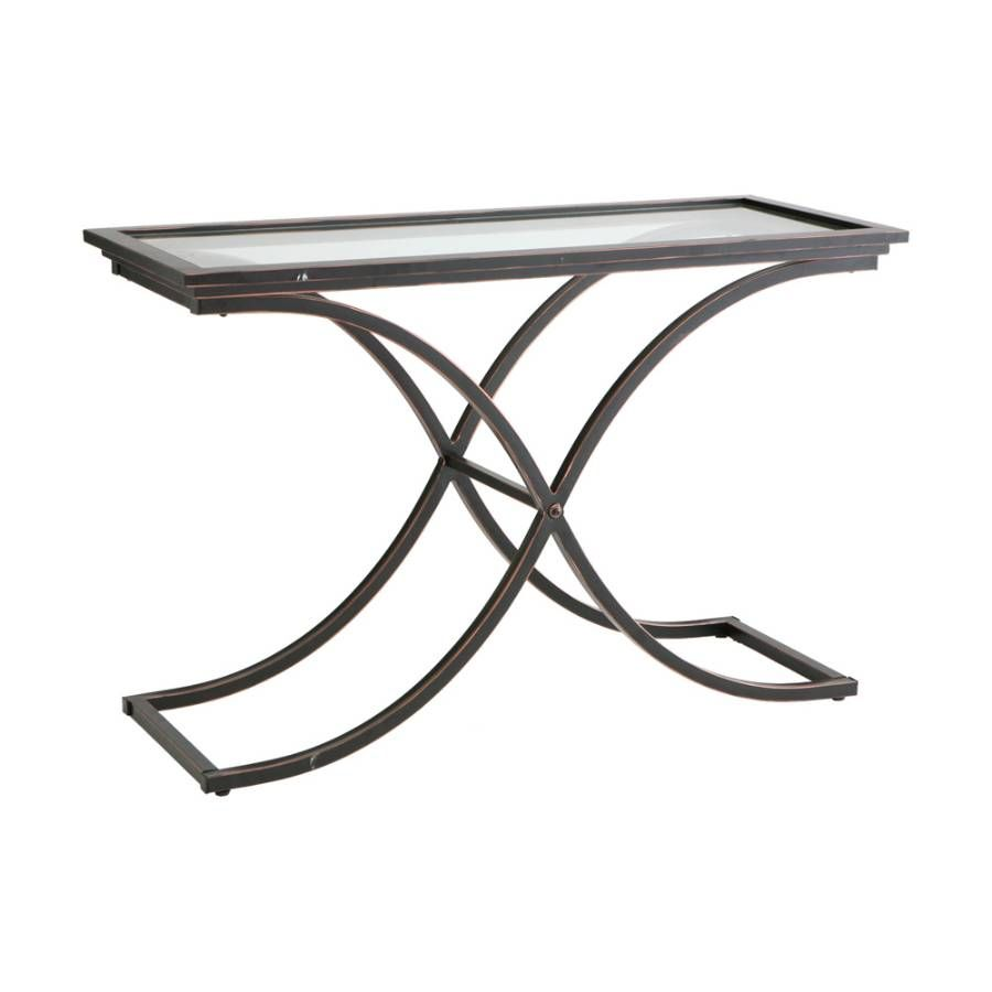 Furniture, Vintage Look Small Modern Console Table With Black Metal Cross  Legs And Glass Top