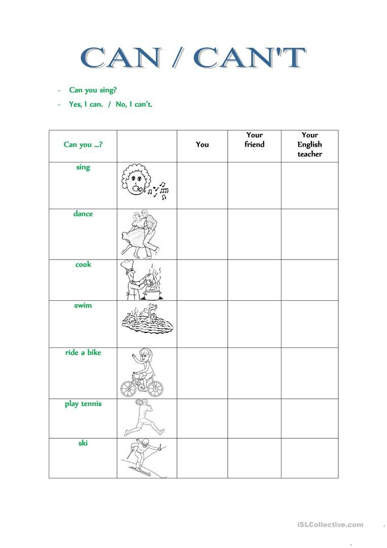 CAN / CAN'T worksheet - Free ESL printable worksheets made by ...