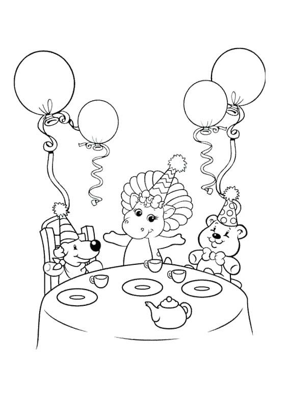 Barney Dinner Coloring Page
