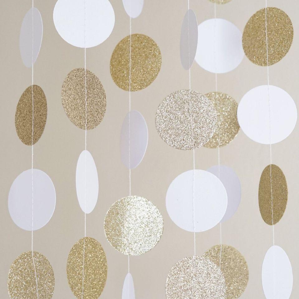 White and gold glitter circle polka dots paper garland for Gold dot garland
