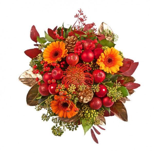 """Pflanzen-Kölle Weihnachtsstrauß """"Bratapfel"""".  Süßer Weihnachtsklassiker für die Vase. Dekorativer Exklusiv-Strauß in herrlichen Farben, ideal zum Verschenken."""