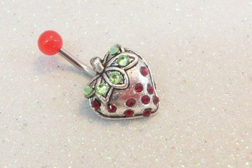 Belly ring with cute strawberry w red and peridot green crystals 14ga | YOUniqueDZigns - Jewelry on ArtFire