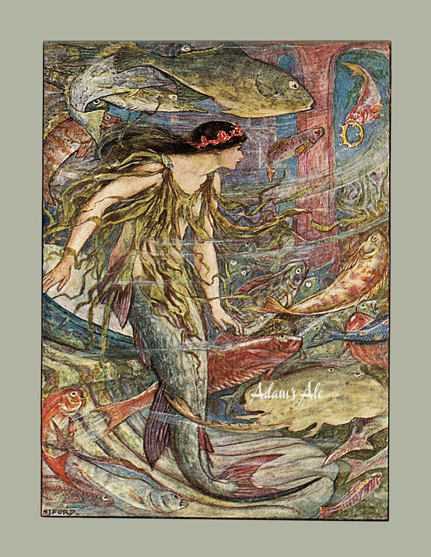 Mermaid print victorian mermaid art from a vintage