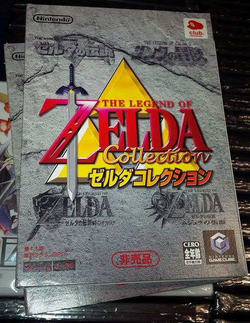 Legend of Zelda Collection Club Nintendo Special for Japanese Gamecube - given away by Club Nintendo for redemption of Club Nintendo Points back in 2004. This item was never sold in retail stores. Four games are included on the disc as follows: The Legend of Zelda, The Adventures of Link, Ocarina of Time, Majora's Mask. Bonus feature: Wind Waker promo video, The Legend of Zelda: A Retrospective - Scenes from The Legend of Zelda to The Wind Waker, Wind Waker playable demo