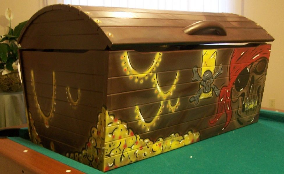 Painted Pirate Toy Chest
