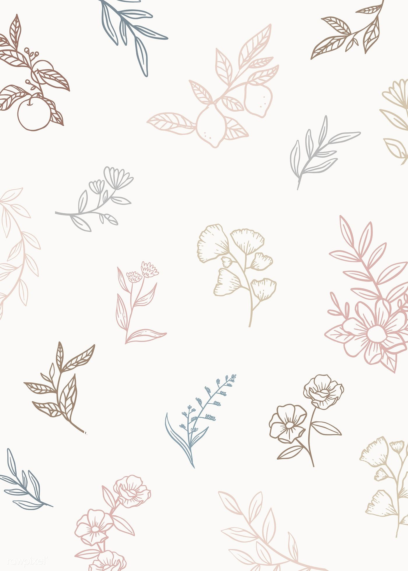 Download Premium Vector Of Botanical Pattern Earth Tone Background