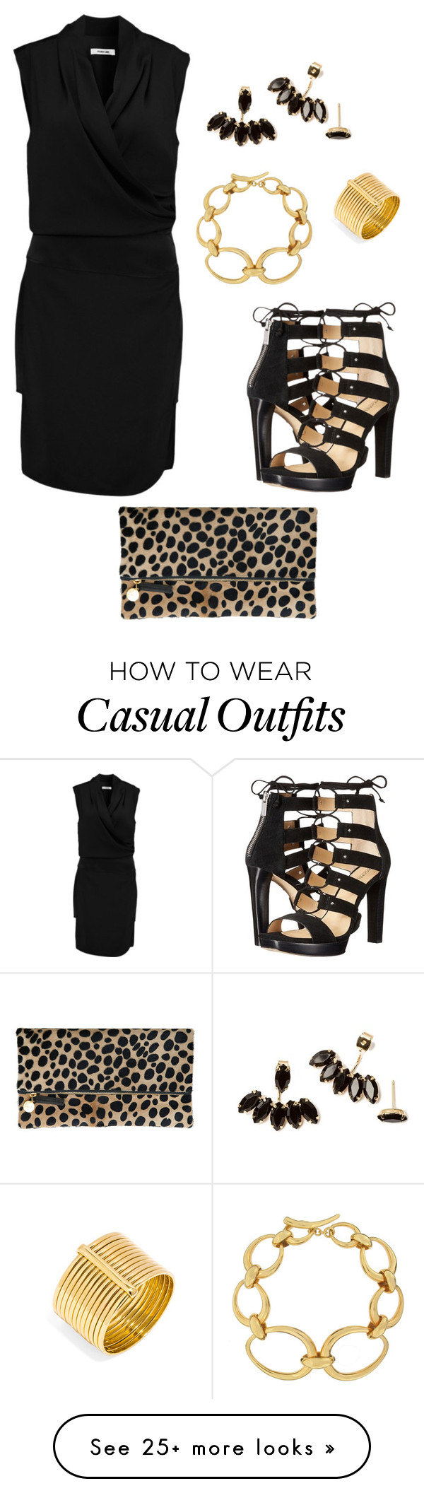 """Black dress - Casual"" by brittjade on Polyvore featuring Helmut Lang, MICHAEL Michael Kors, Dinny Hall, Clare V. and BaubleBar"