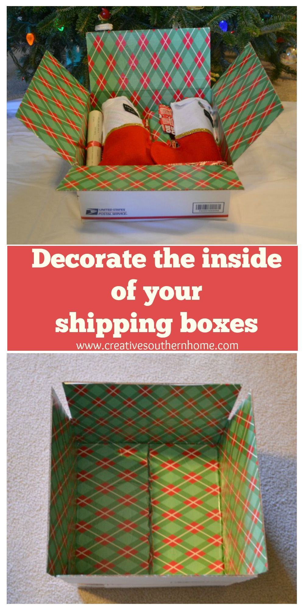 decorate the inside of your shipping boxes Care package