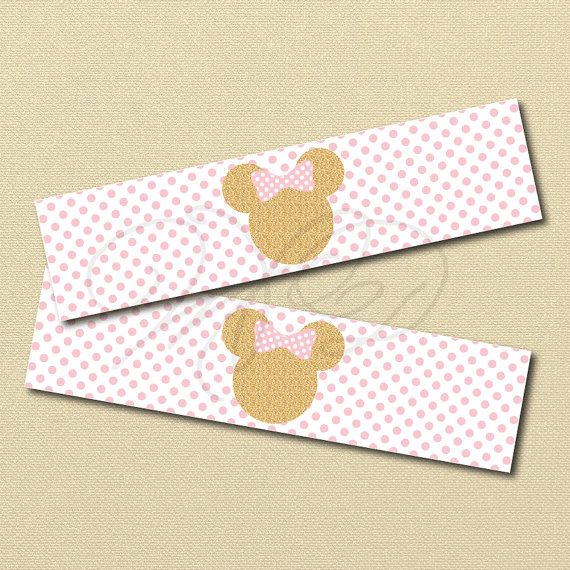 pink and gold Minnie Mouse Printables, pink Minnie Water ...