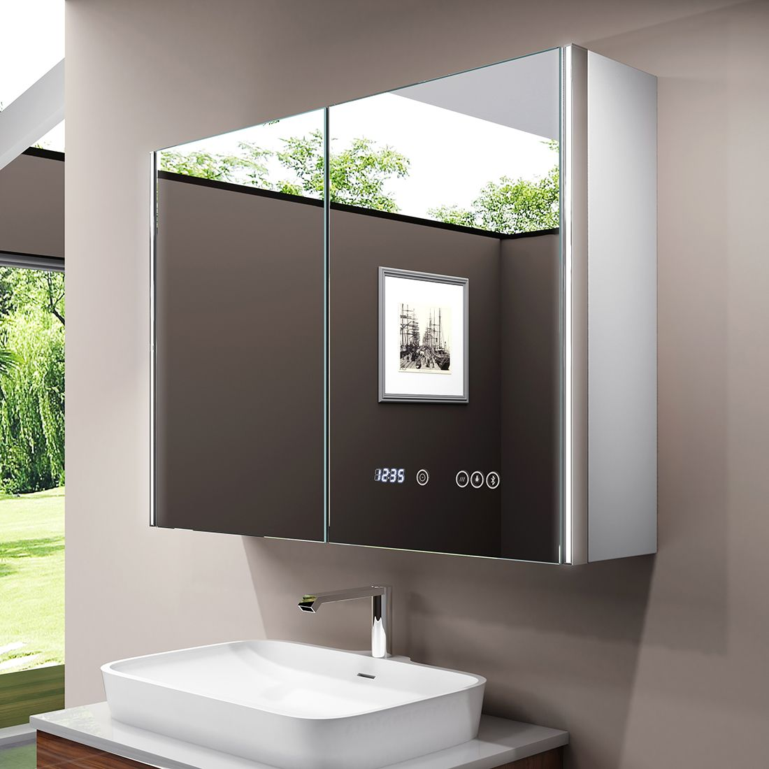Neues Design Led Spiegelschrank Badschrank Mit Sensorschalter Bluetooth Lautsprecher Spiegelschrank Led Spiegelschrank Led Spiegel