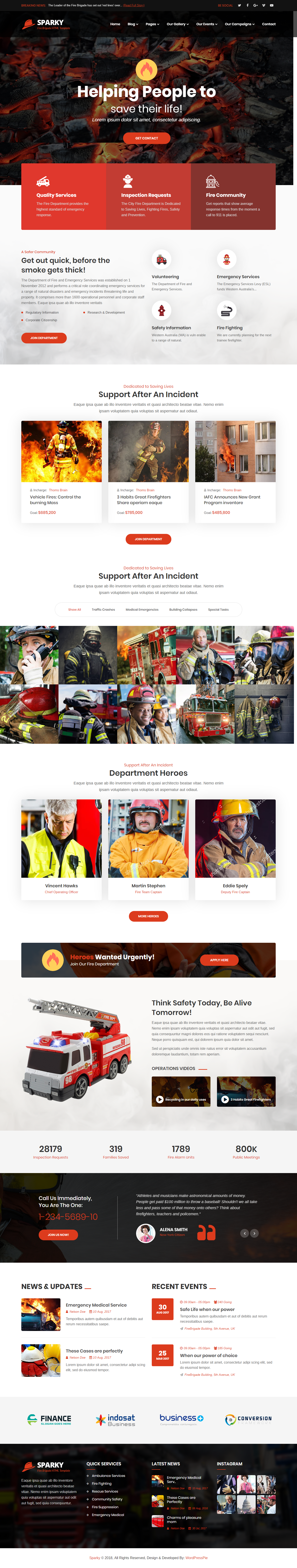 Sparky Fire Brigade HTML Template Is A For The Fighting And Rescue Services Will Help You Provide
