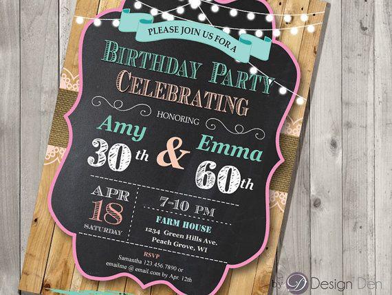Adult Joint Birthday Invitation ChalkboardCountry By Bydesignden