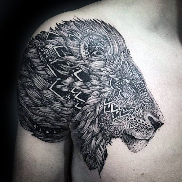 50 Lion Shoulder Tattoo Designs For Men Masculine Ink Ideas Mens Shoulder Tattoo Lion Shoulder Tattoo Tribal Shoulder Tattoos