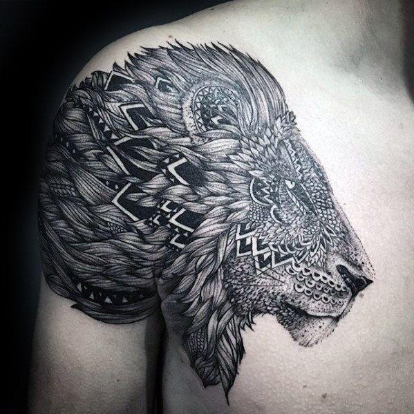 ornate mens pattern lion shoulder tattoo designs my future tattoos pinterest lion shoulder. Black Bedroom Furniture Sets. Home Design Ideas