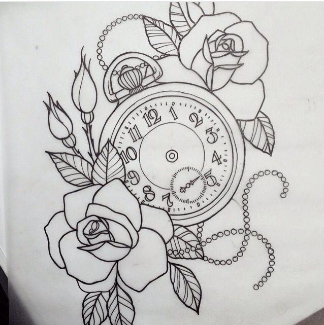 Rose Clock Tattoo Designs Drawing: Tattoo, Piercings And Tatoo