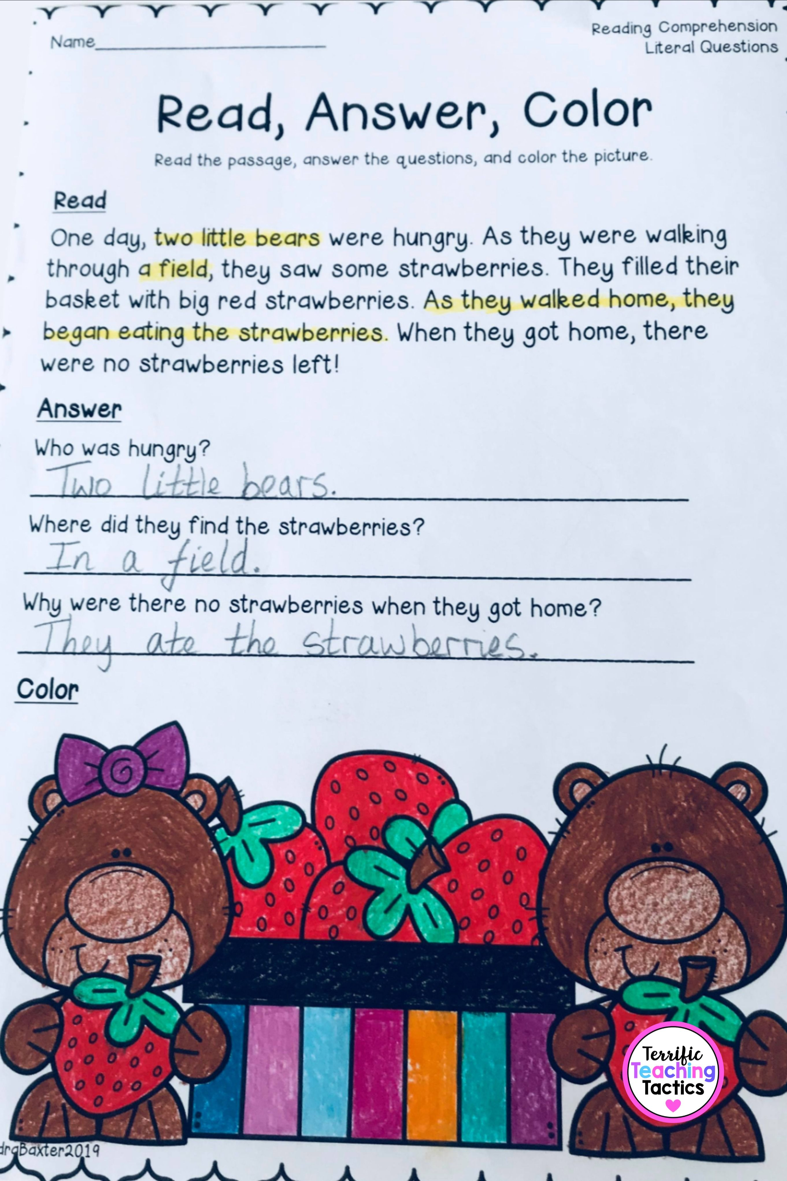 Reading Passages And Literal Comprehension Questions 2 In