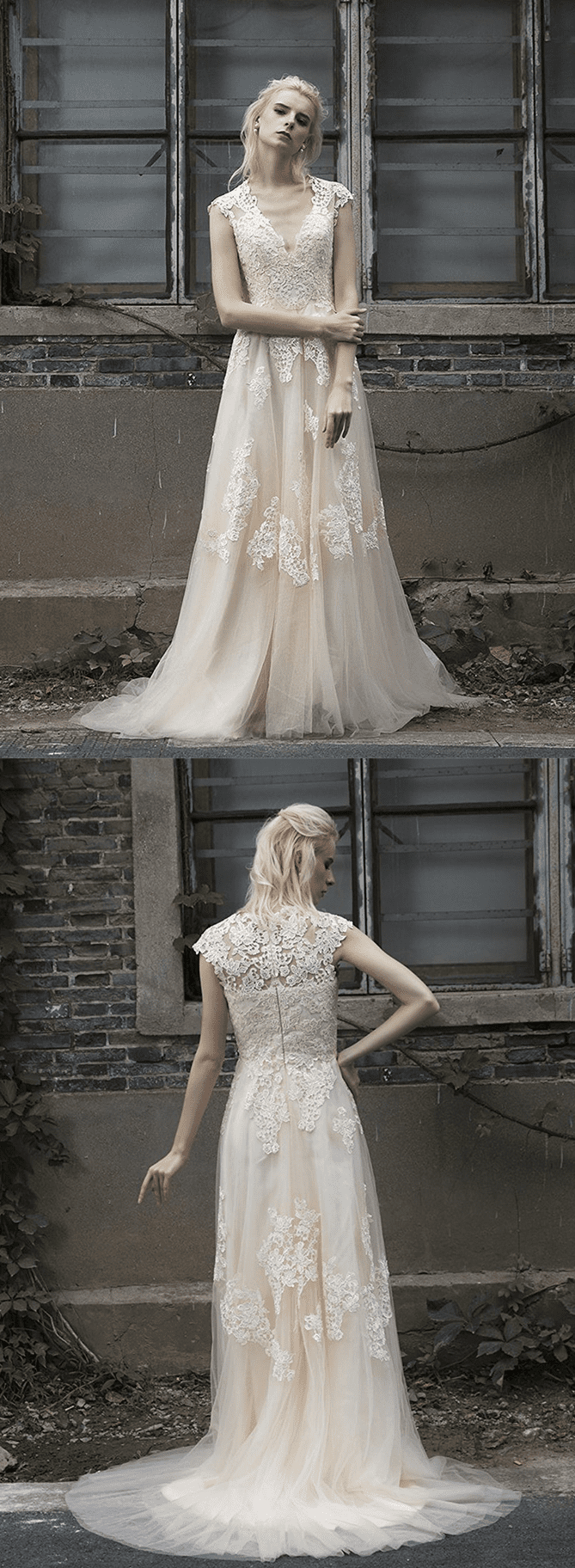 Lace cap sleeve a line wedding dress   Chic Wedding Gowns You Can Order on Amazon  AMAZON WEDDING
