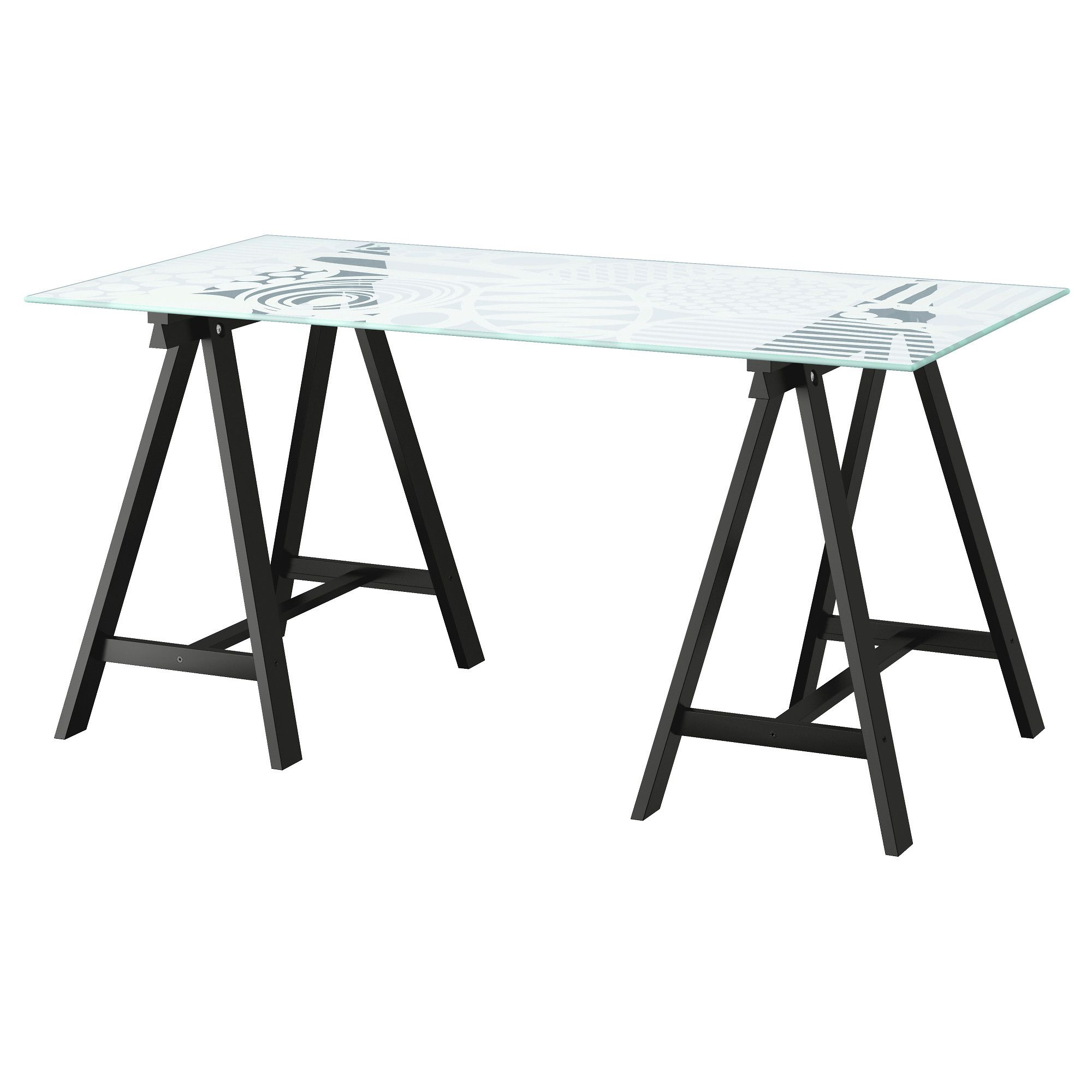 IKEA GLASHOLM/ODDVALD Table Glass/egg Pattern Black Cm The Table Top In  Tempered Glass Is Stain Resistant And Easy To Clean.