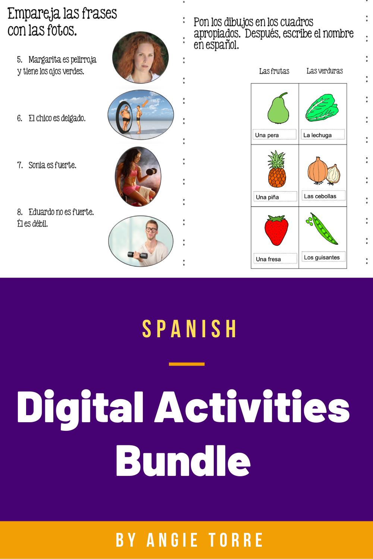 Spanish Google Drive Activities Bundle Distance Learning Google Drive Activities Spanish Interactive Notebook Activities Interactive Notebook Activities