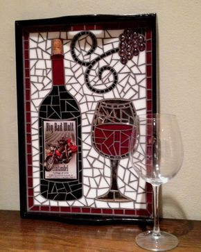 Unique Label  Wine Bottle Mosaic Glass Serving by 8MileMosaics