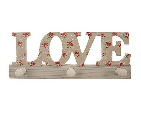 Colgador de pared de madera y metal con 3 ganchos Amor Maria Loi - pared de madera