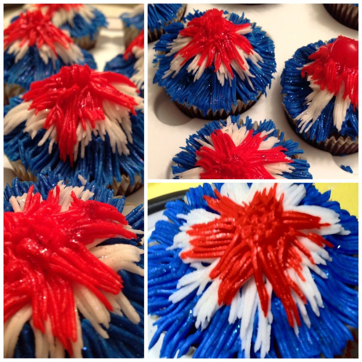 Fourth of July, fireworks cupcakes.