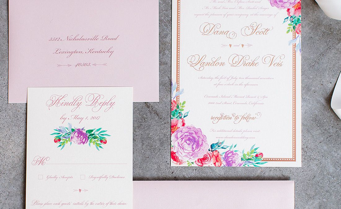custom bright floral watercolor wedding invitation suite by