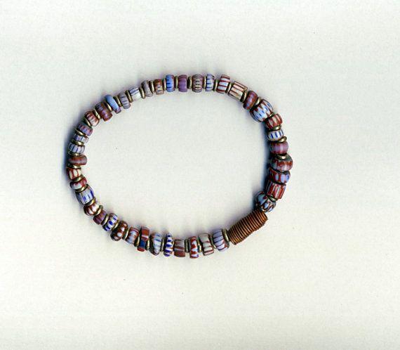 Awale chevron tradebeads bracelet with copper by letsembracelets
