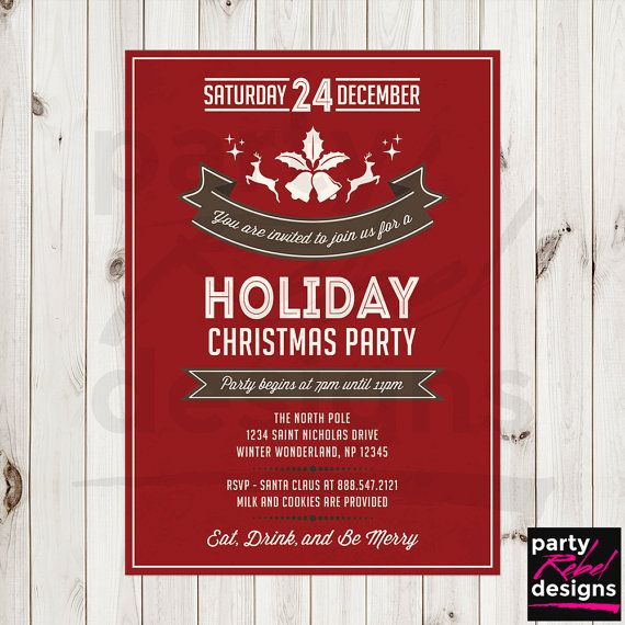 Christmas Party Invite Christmas Party by PartyRebelDesigns Cards