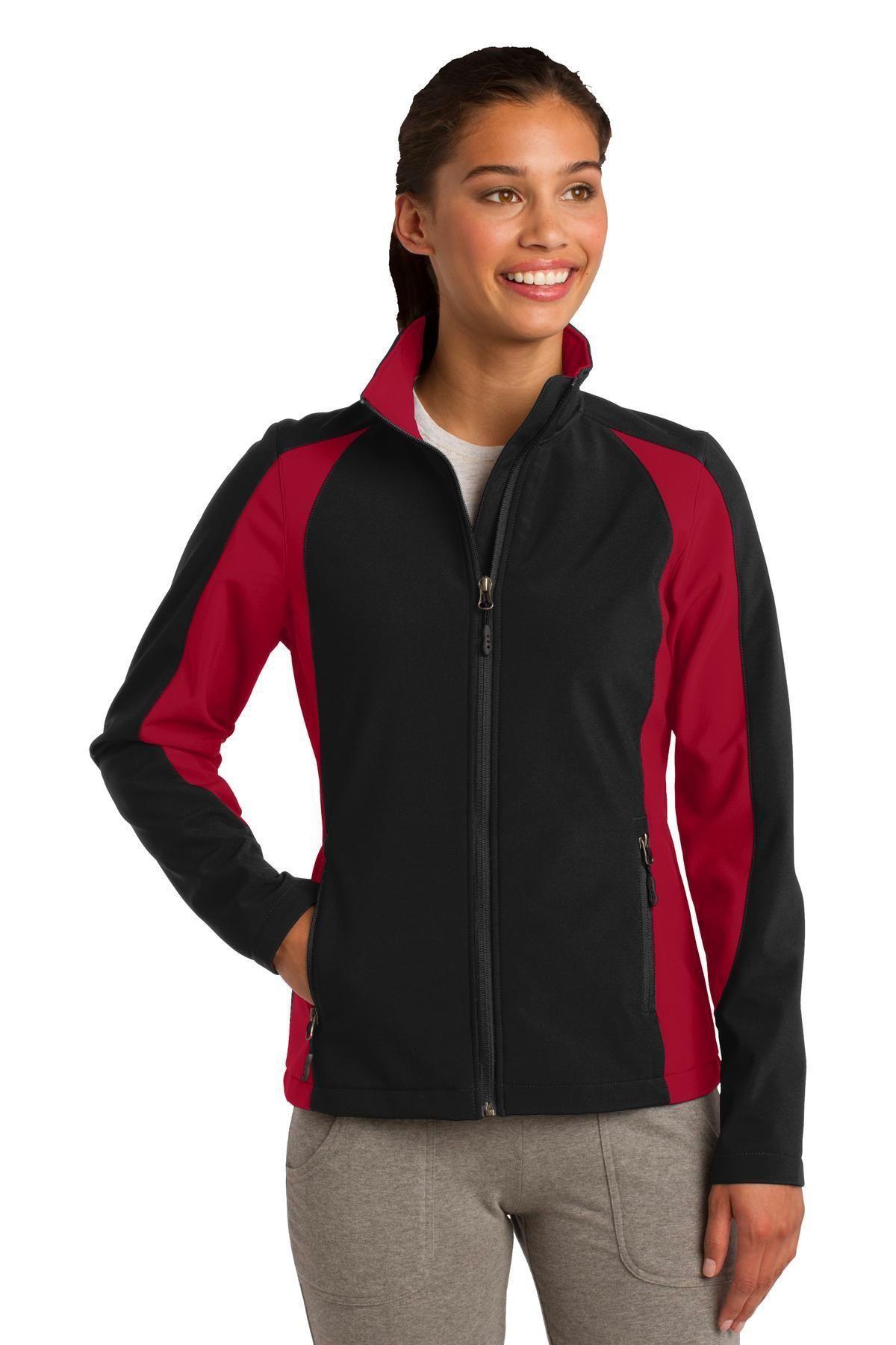SportTek Ladies Colorblock Soft Shell Jacket. LST970