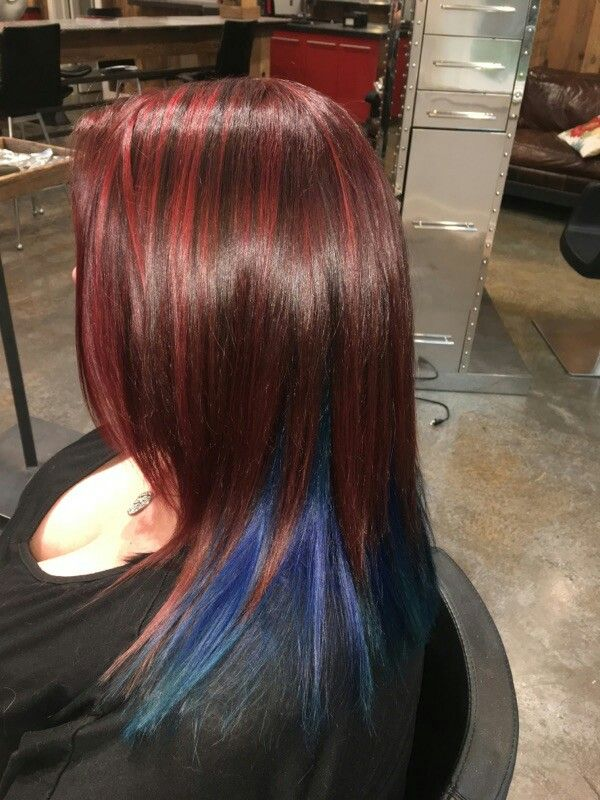 Burgundy Red Hair With Blue Underneath Burgundy Red Hair