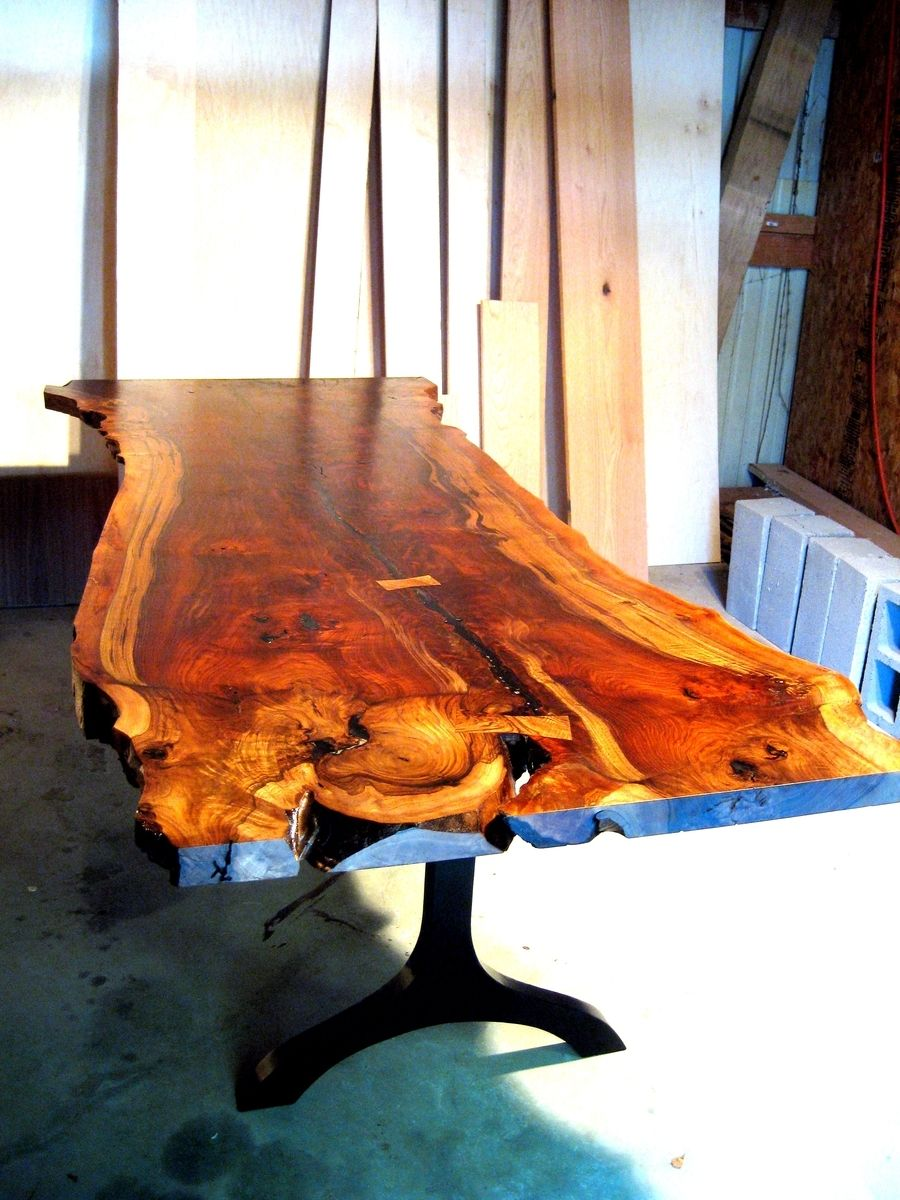Custommade by zac divine a live edge walnut slab table for Finishing live edge wood