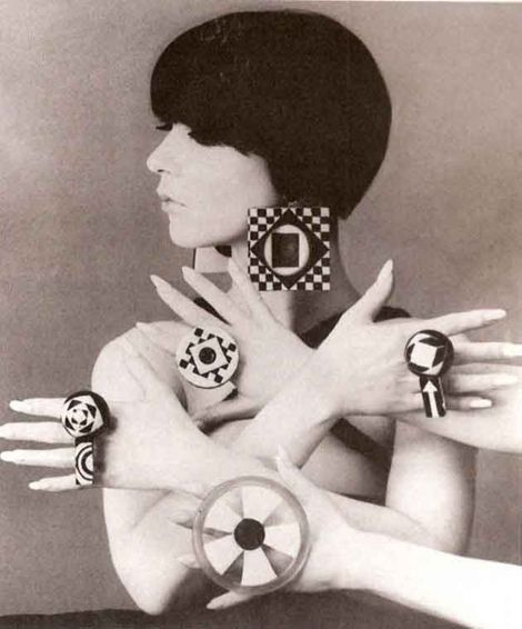 Mod Jewelry, 1960's. Suggested that this is Peggy Moffit. Thank you! @Denise H. H. Greenberg