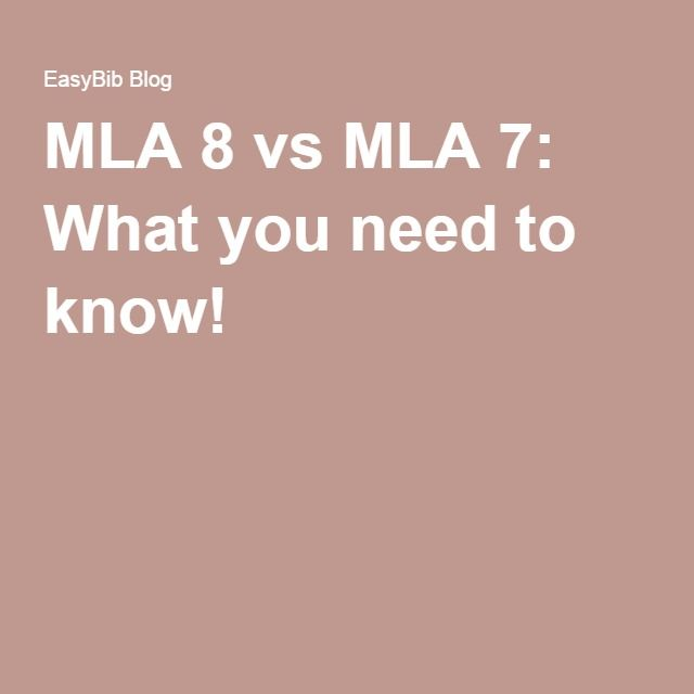 what s the difference between mla 7 and mla8