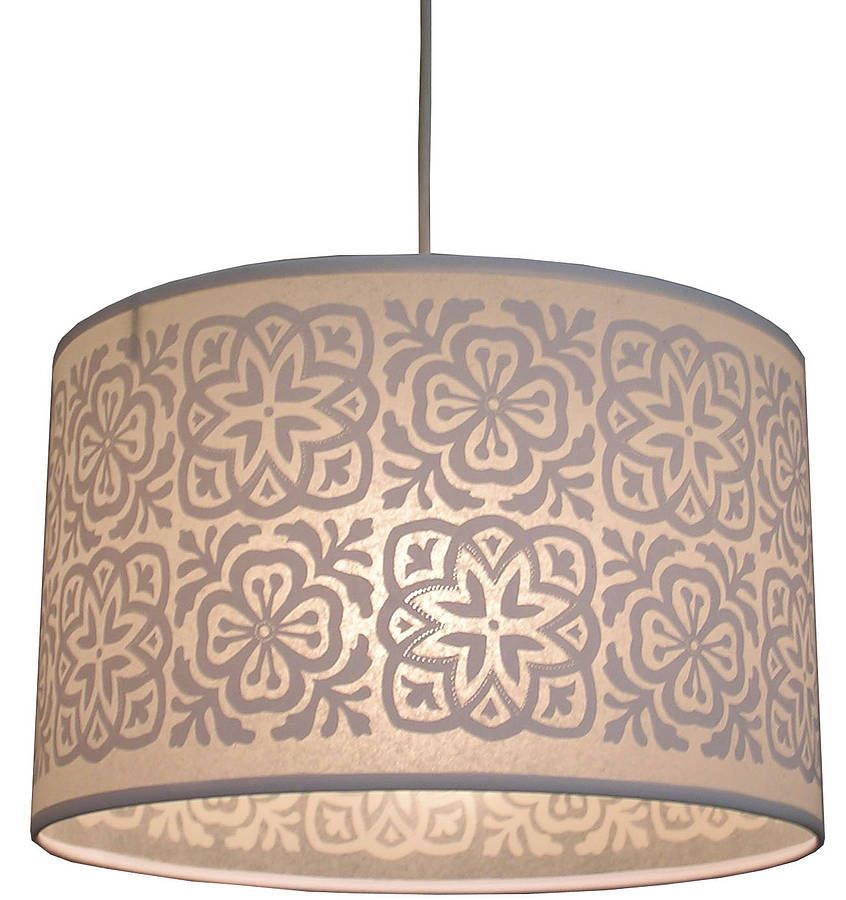 Moroccan tile large drum shade collections mix products moroccan tile large drum lampshade aloadofball Image collections