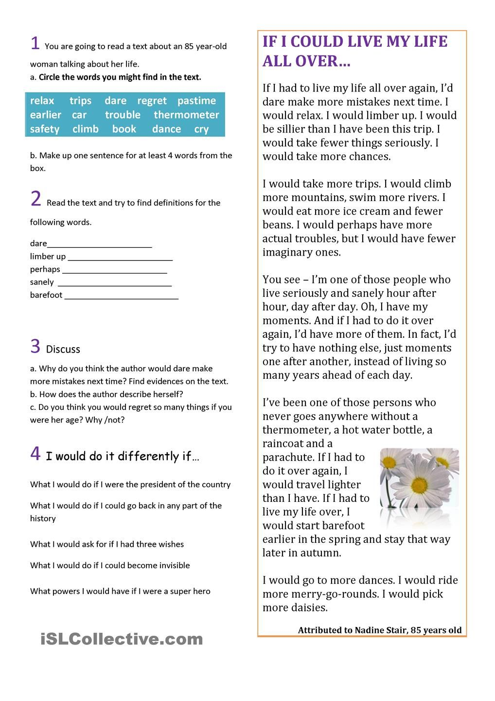 Workbooks reading comprehension worksheets for advanced esl students : Read Second Conditional   Reading comprehension   Pinterest ...