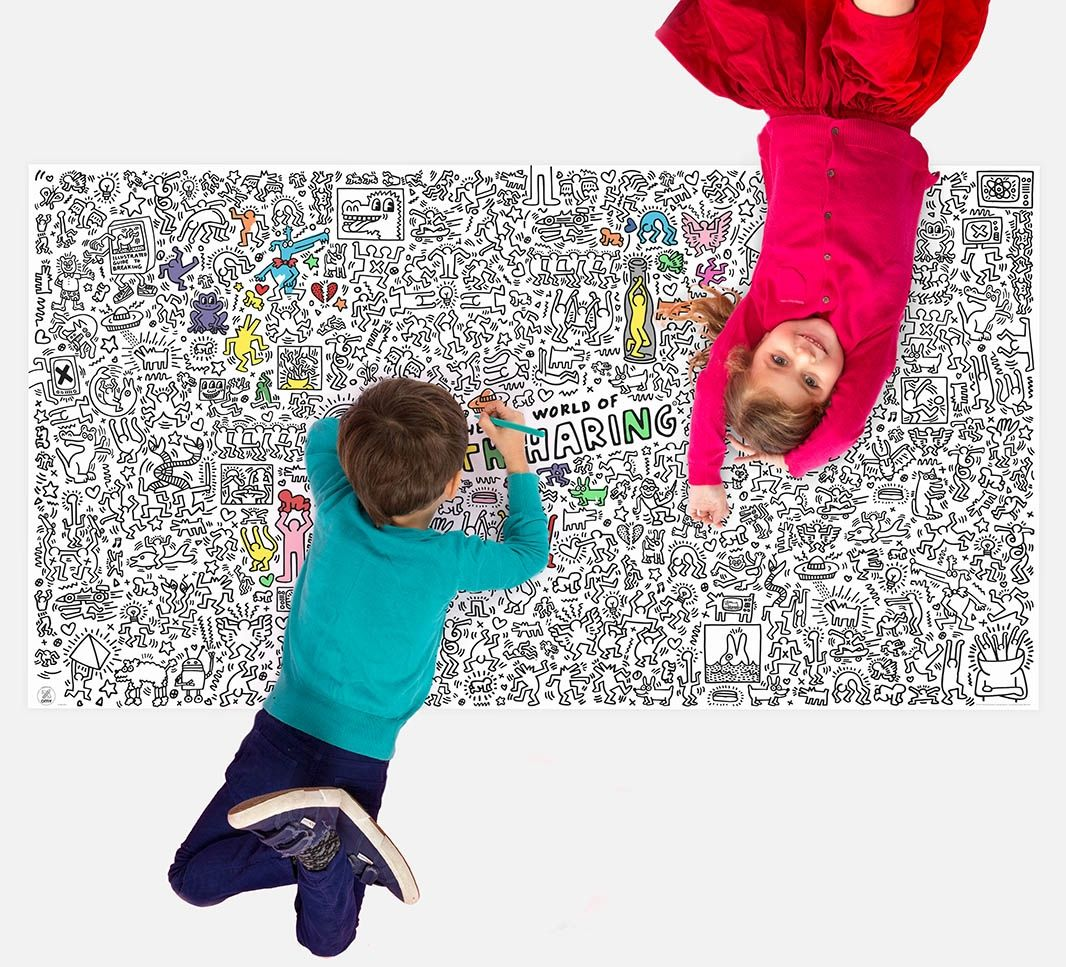 OMY's giant Keith Haring coloring poster will keep kids busy and creative for weeks!
