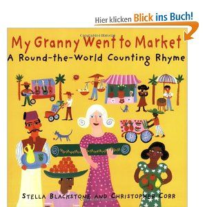 """K-Gr. 3. This international counting rhyme combines elements of the """"Twelve Days of Christmas"""" and cumulative folktales as Granny buys a flying carpet from a man in Istanbul and travels around the world, purchasing items indigenous to each country she visits: """"'To Switzerland!' cried Granny / as the carpet turned around, / she bought five cowbells there, / that made a funny clanking sound."""" -Julie Cummins"""