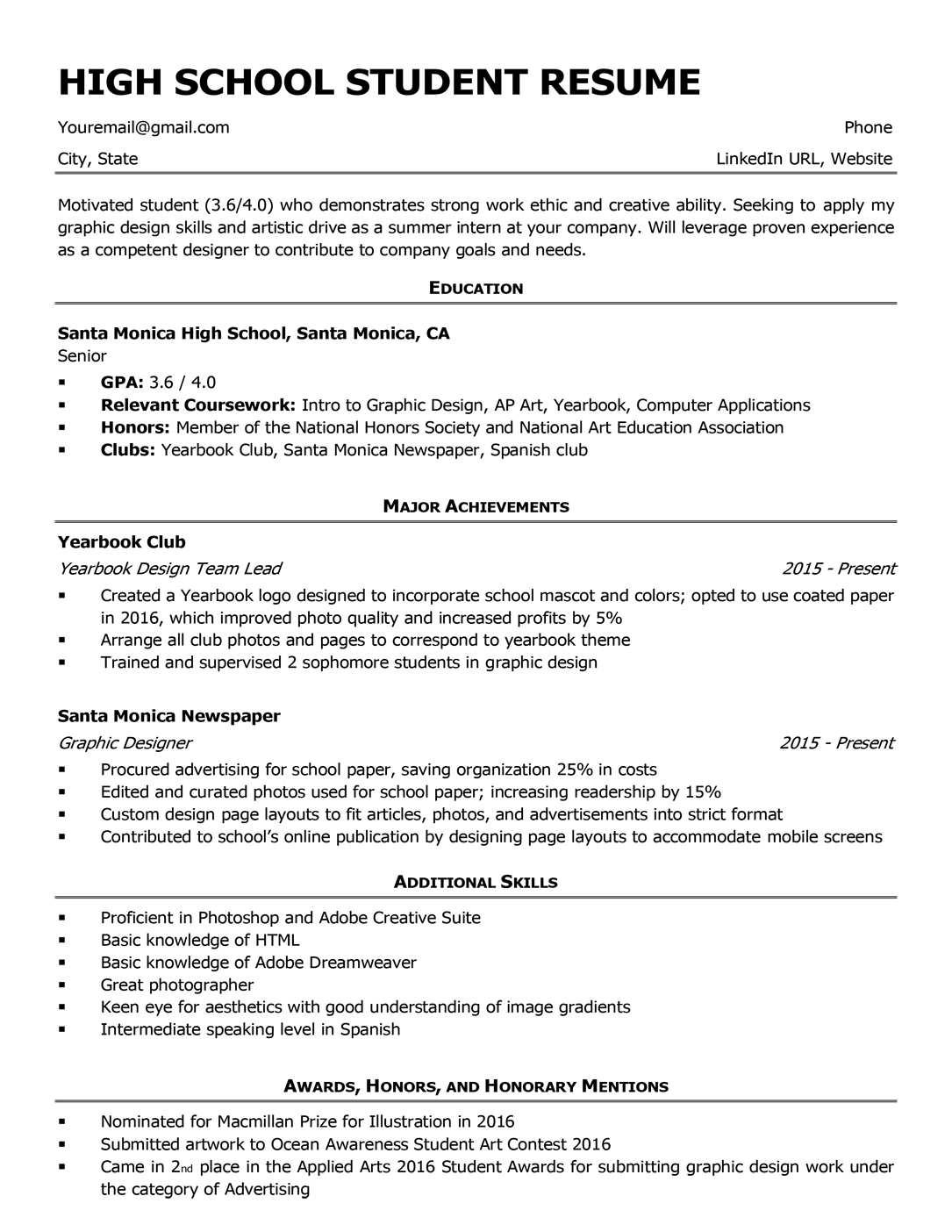 High School Resume Template & Writing Tips Resume
