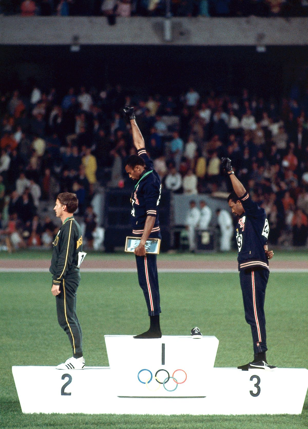 Black Power Salute on Olympic Medal Stand Tommie smith