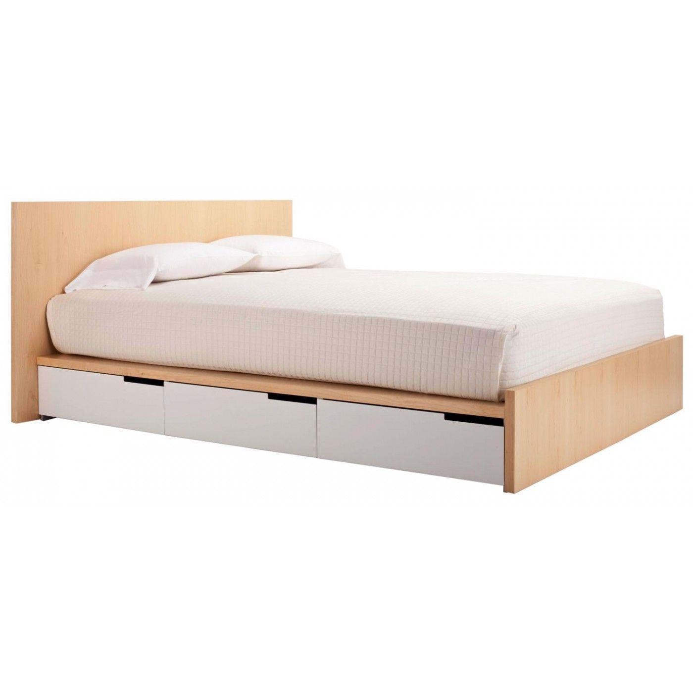Queen Storage Bed - Maple / White