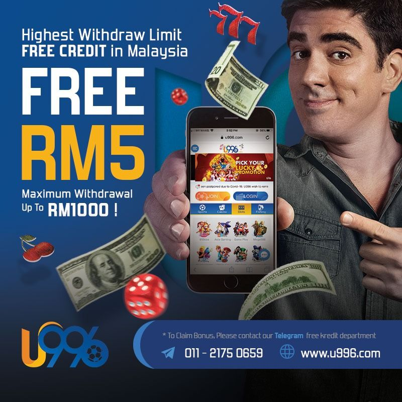 U996 Free Credit Withdrawal Limit Up To Rm1000 Free Slots Casino Play Free Slots Free Casino Slot Games
