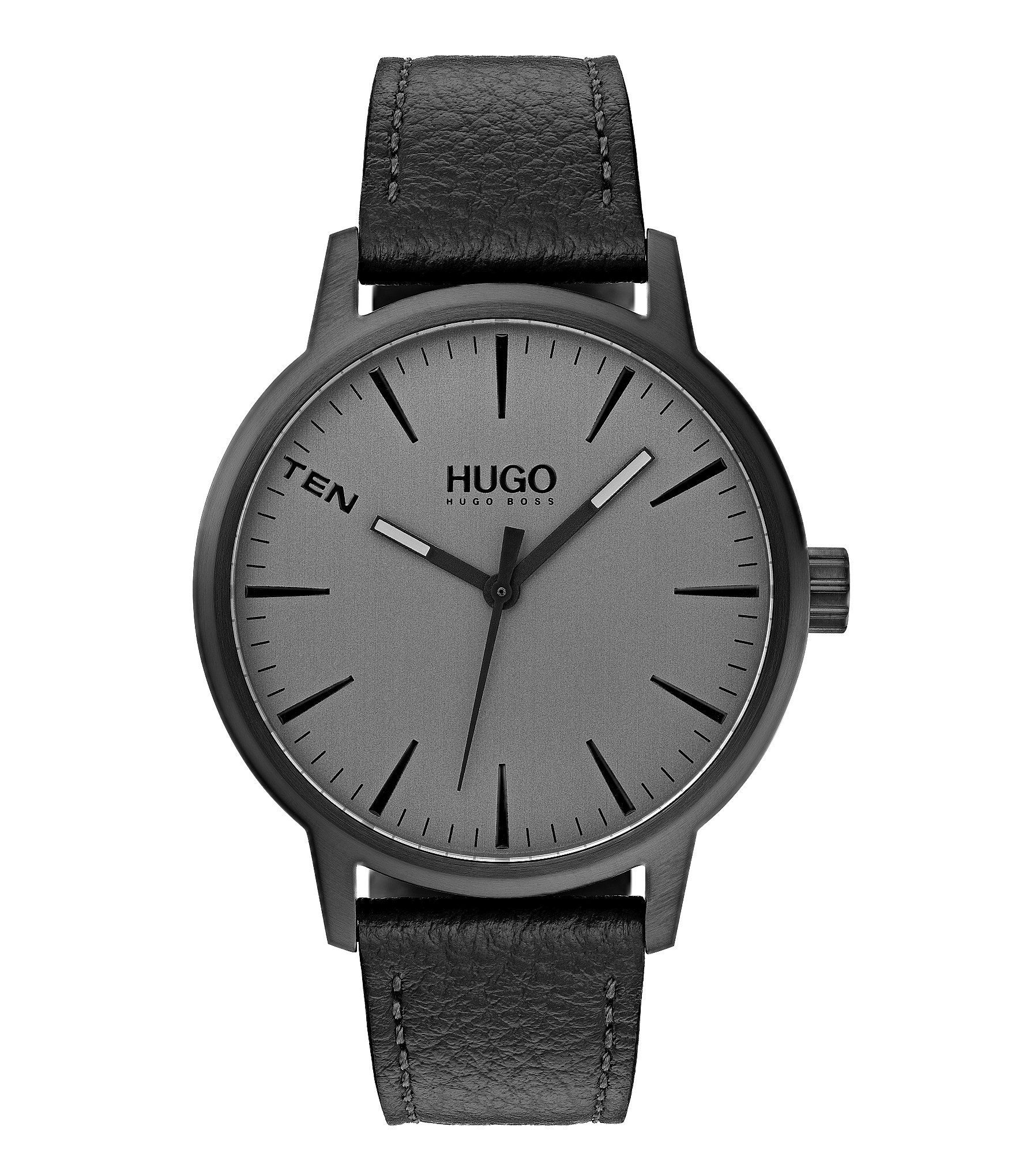 Photo of Hugo Boss Stand Black Leather Watch – Black