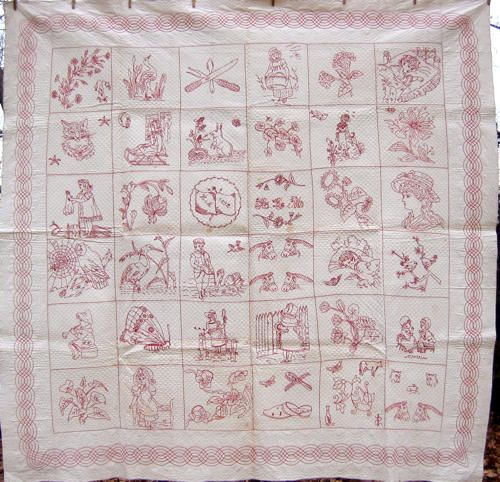 Redwork Quilts - Embroidery replaces patchwork - I Antique Online ... : redwork quilt blocks - Adamdwight.com