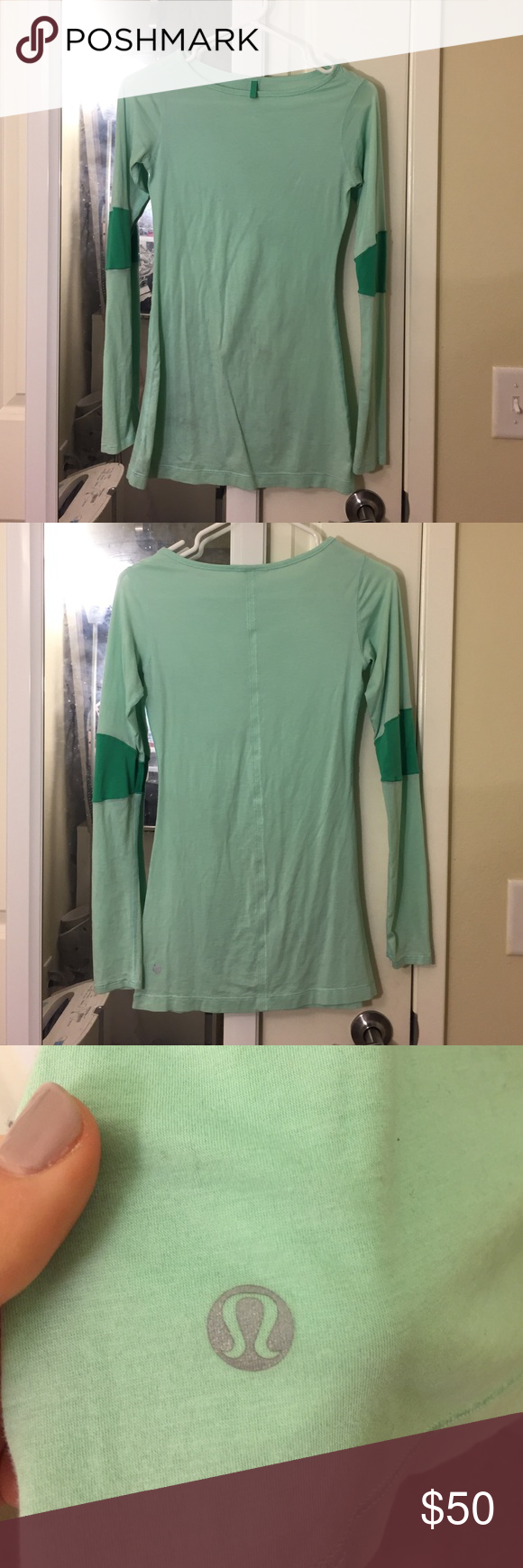 Lululemon long sleeve workout top Rarely worn! Super comfortable and easy to move in lululemon athletica Tops
