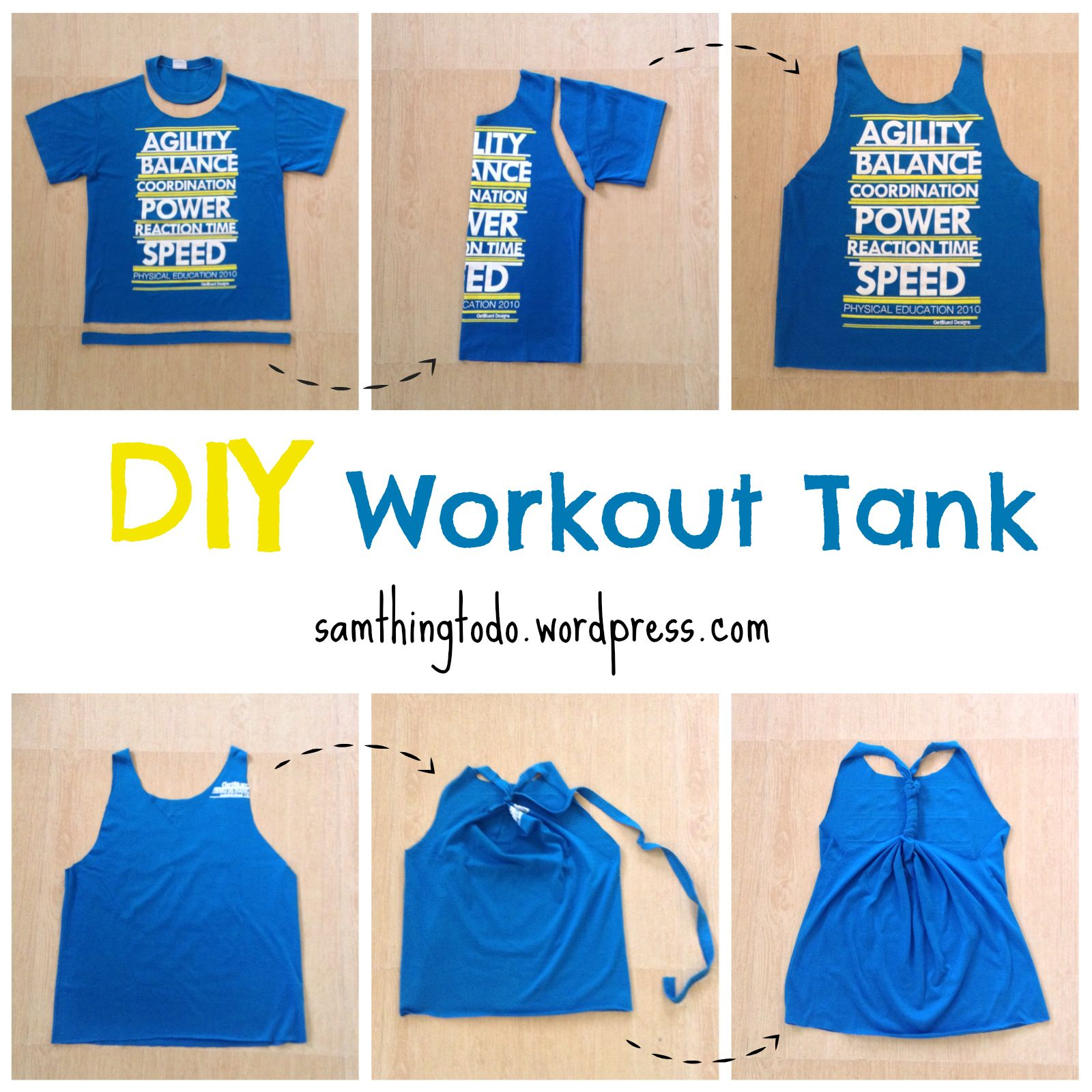 cut your oversized shirts into a diy racerback workout tank top