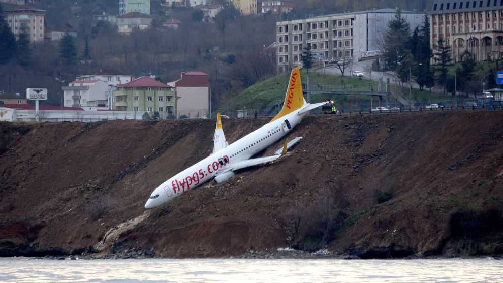 A Pegasus Airlines passenger plane skidded off the runway at Trabzon airport near the Black Sea. (Reuters) A passenger jet skidded off the runway at a Ankara, Pegasus Airlines, Airline Flights, Aircraft Pictures, Pista, Black Sea, Photos Of The Week, Cool Photos